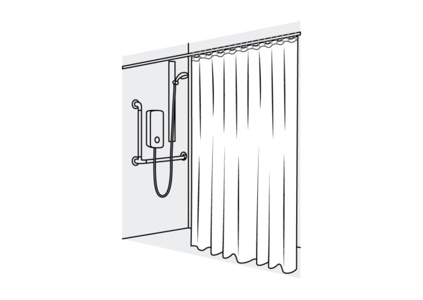 Domestic and Medical Shower Curtain Straight White