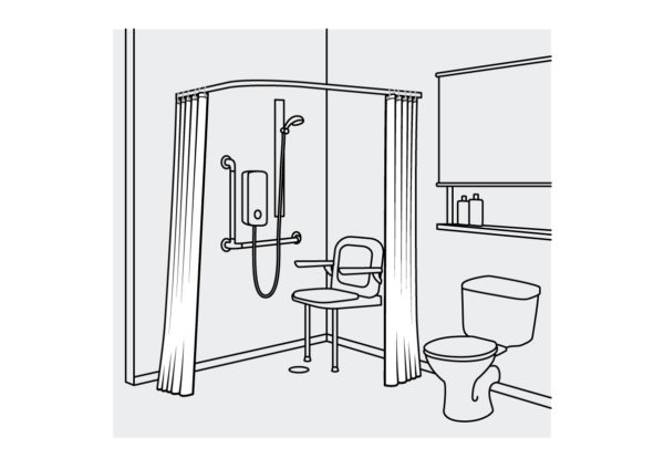 Medical Shower Curtain Curved White