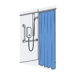 Domestic and Medical Shower Curtain Straight Blue